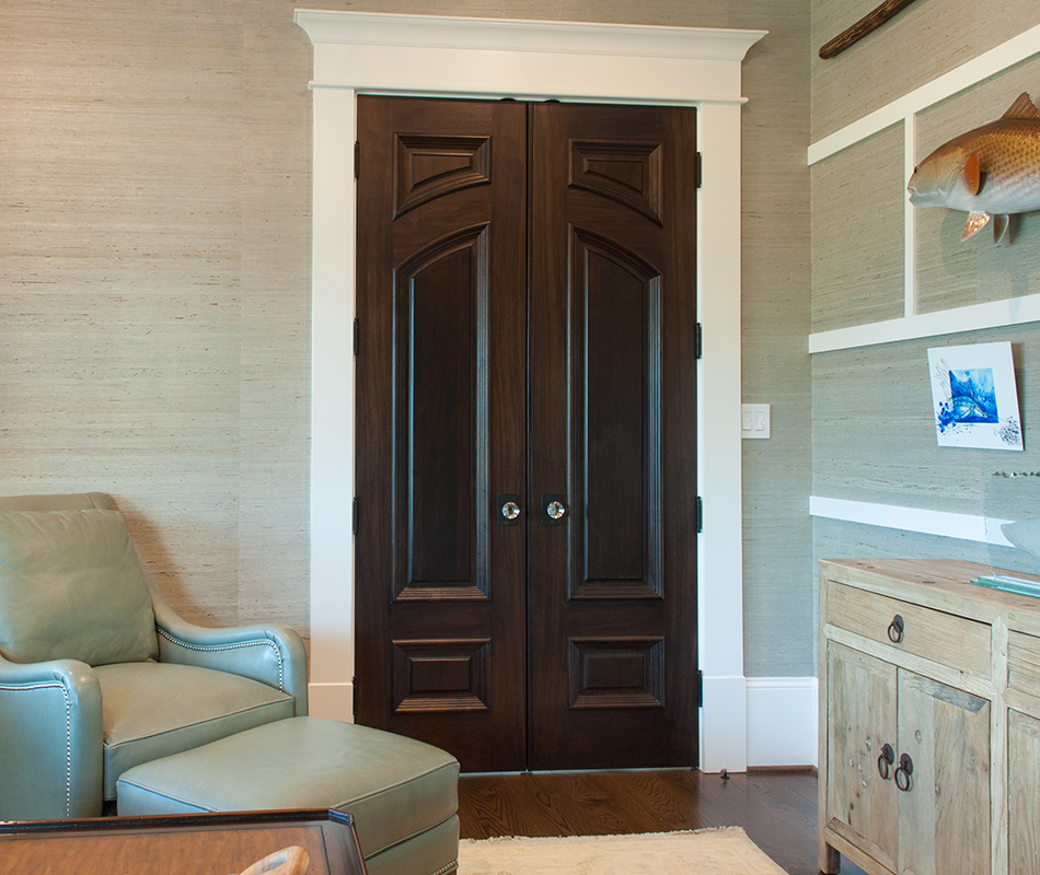 Pair of custom doors in walnut with Big Bolection (BBM) moulding and Scoop (B) panel