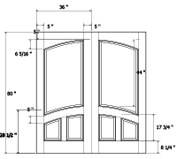 technical cad drawing of a customized door, a TS3140 common arch pair, desiged with the TruStile Door Design Tool