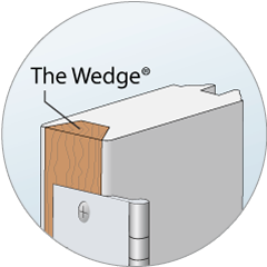 Detail of the Wedge®, a hardwood edge which provides screw-holding power for hinges