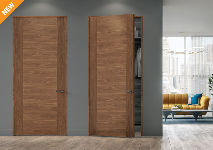 TMF1002 flush doors with walnut sketch face veneers