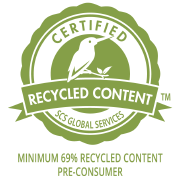 SCS certification mark show that TruStile interior MDF doors contain a minimum of 69% recycled content