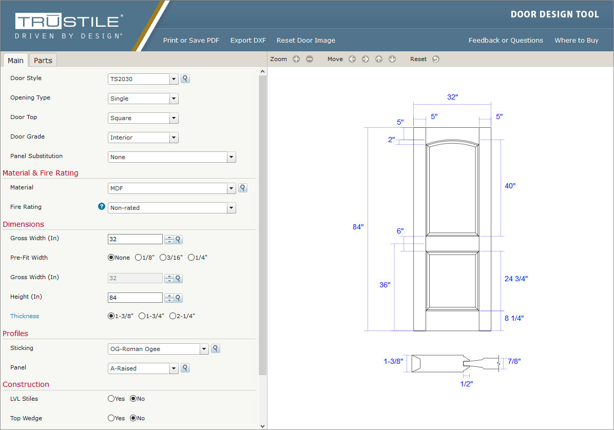 Trucad door design tool trustile doors for Door design tool