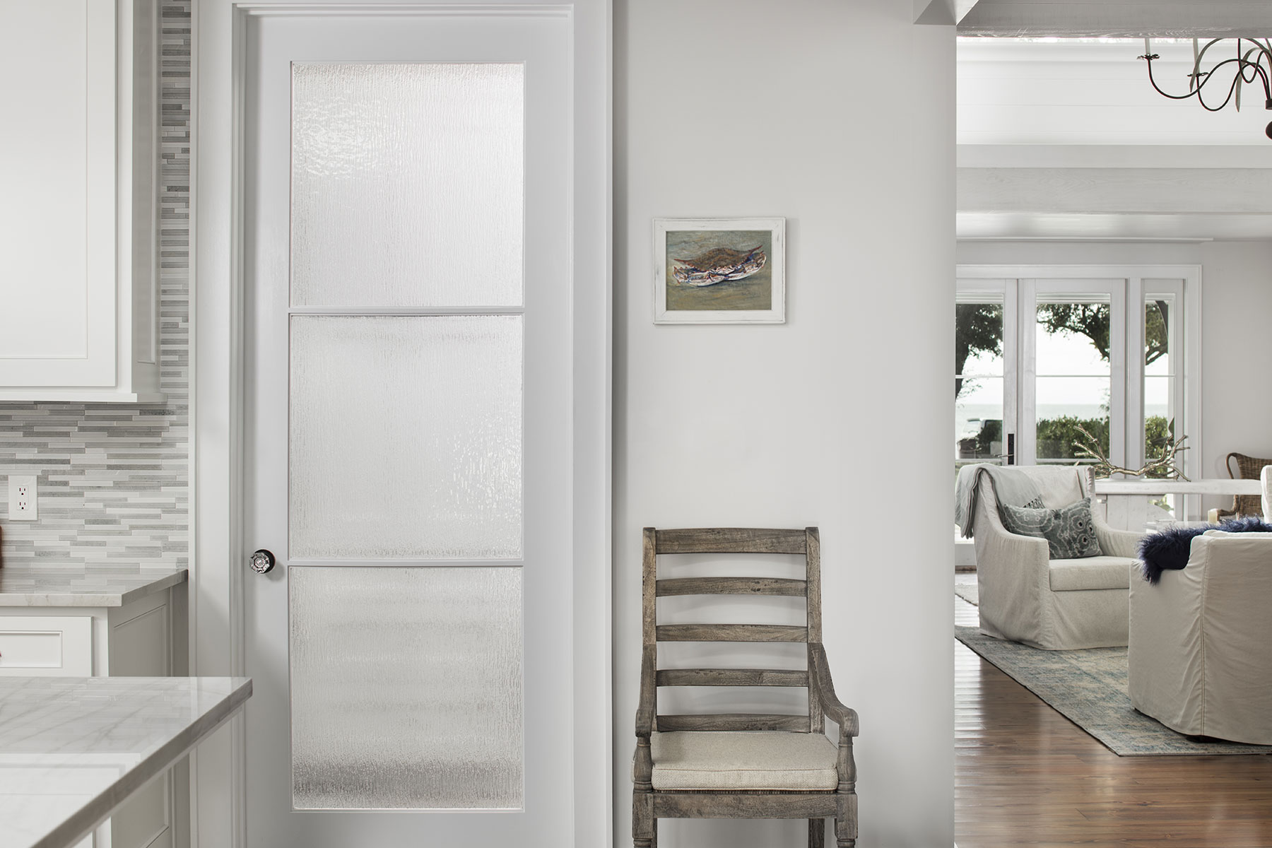 FL300 interior door in MDF with One Step (OS) sash and Rain glass