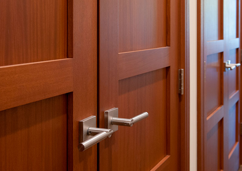 Mahogany door made with stile and rail construction