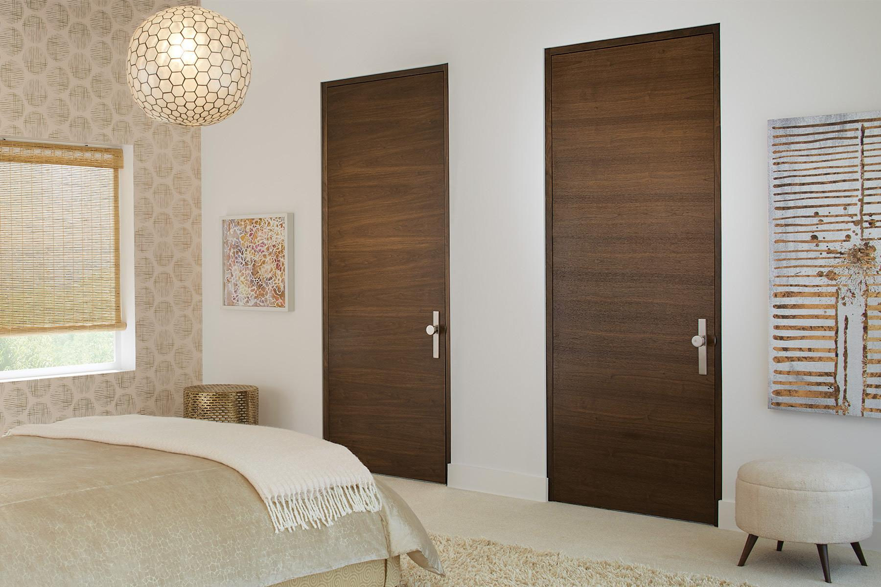 Bedroom featuring TMF1000 flush doors in walnut with Cappuccino stain