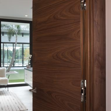 "Ultra sleek TMIR6000 in Walnut with 1/4"" kerf cut and concealed hinges."