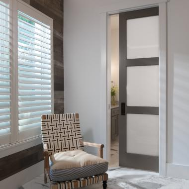 TS3000 with White Lami Glass designed as a pocket door to create more space in the bathroom