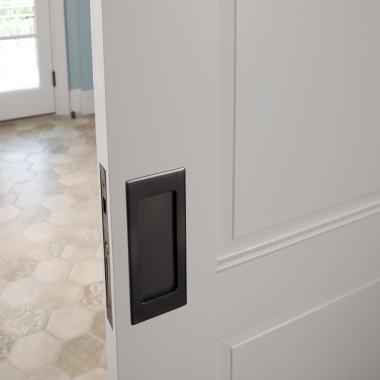 TS3000 pocket door in MDF with One Step (OS) sash and Raised (A) panel.