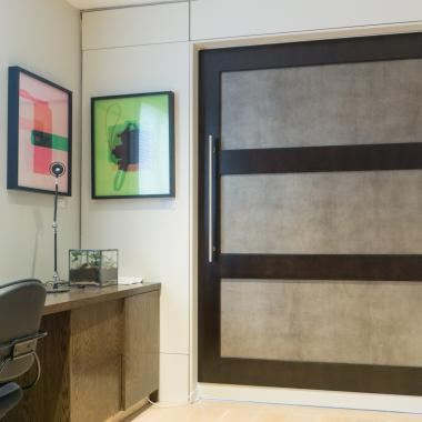 TS3000 barn door in White Maple with Espresso Finish and Edelman Shagreen Grey Oyster leather