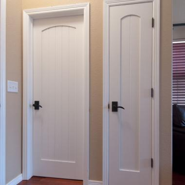 VG1030 doors give this home a craftsman feel by replacing outdated hollow core doors. VG1030 in MDF with square stick (SS) sticking.