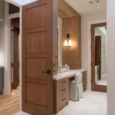 TS4100 bathroom door in walnut with square stick (SS) sticking and flat (C) panel. Door in back features full-length inset mirror.