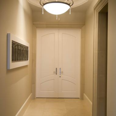 The TS2050 common arch pair at the end of this corridor open to the master suite. MDF with quarter round (QR) sticking and raised (A) panel.