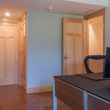 This home office features TS3240 doors in maple