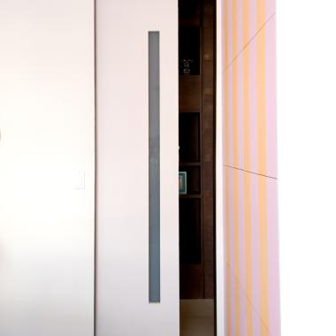Custom 1-lite flush pocket door in MDF with frosted glass