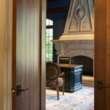 The entrance to this study features an arch-top VG1030 common arch pair in alder.