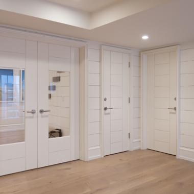 "Family room with TM9250 doors in MDF with 1/4"" kerf cut reveal and clear glass. TM9000 on right."