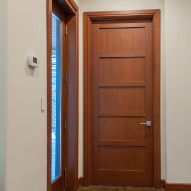 TS5000 door in mahogany with Square Stick (SS) sticking and Flat (C) panel