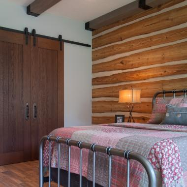 Bedroom featuring VG1010 barn doors in wire-brushed white oak.