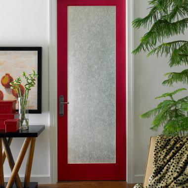 This asian-inspired room features a bright red FL100 in MDF with shoji glass and square stick (SS) sash.
