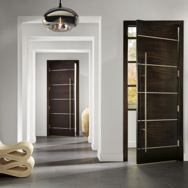 "TMIR6080 doors in mahogany with Espresso stain and 1/2"" bright stainless steel inlay"