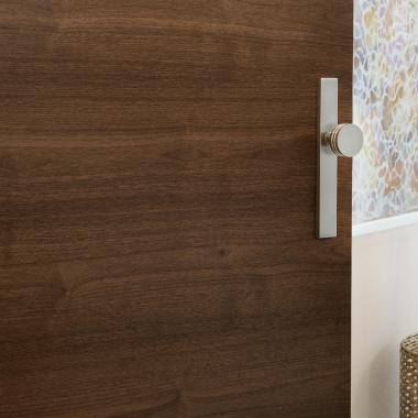 Detail of TMF1000 flush door in walnut with Cappuccino stain