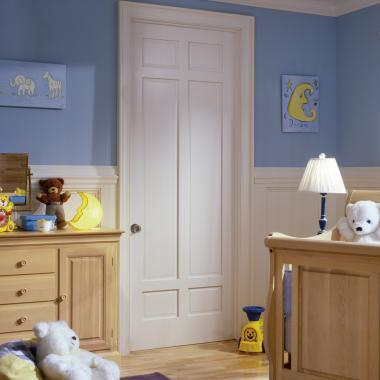 This nursery features a TS6050 in MDF with custom sticking and raised (A) panel.
