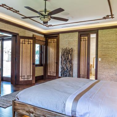 Master Bedroom with TS1000 in mahogany and bamboo with custom applied moulding