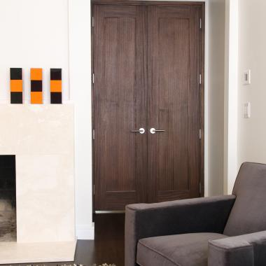 Pair of TS1000 doors in walnut with square stick (SS) sticking and flat (C) panel