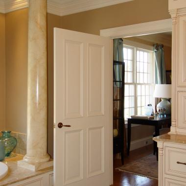 Master bath with TS4000 in MDF with bolection moulding (BM) and raised (A) panel.