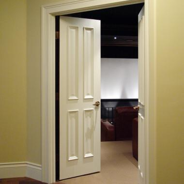 Home theater featuring TS4000 doors in MDF with bolection moulding (BM) and raised (A) panel.