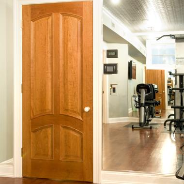 TS4030 home gym door in cherry with bolection moulding and raised (A) panel