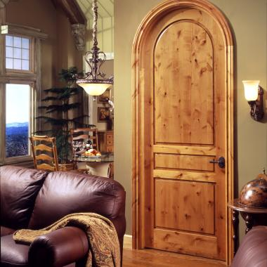 Tuscan style radius-top TS3180 in knotty alder with square stick (SS) sticking and raised (A) panel.