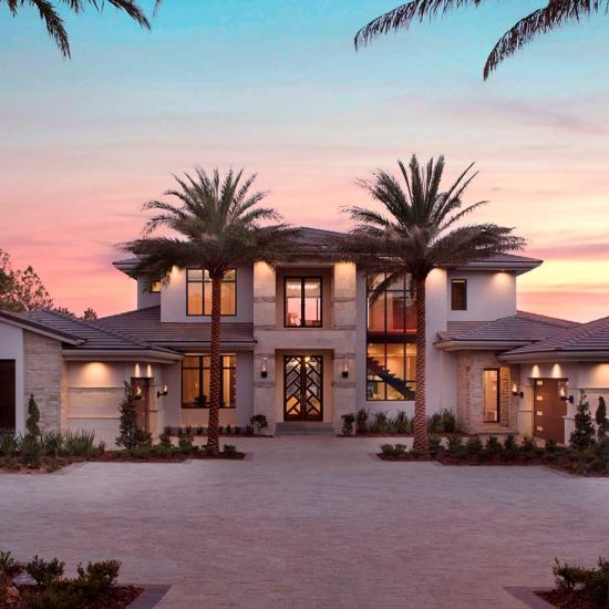 Exterior of modern tuscan style home in Orlando
