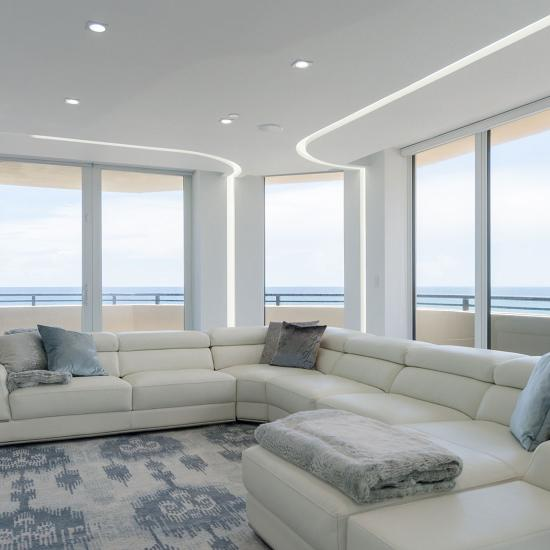 White on white living room of a modern Palm Beach condominium