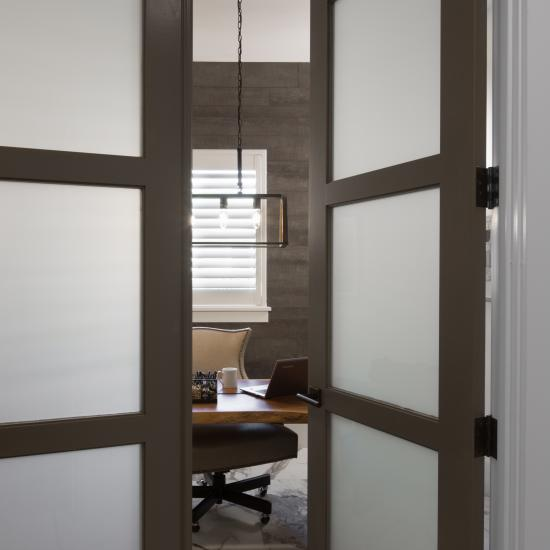 TS3000 Pair with One Step Sticking and White Lami Glass makes an elegant office entry