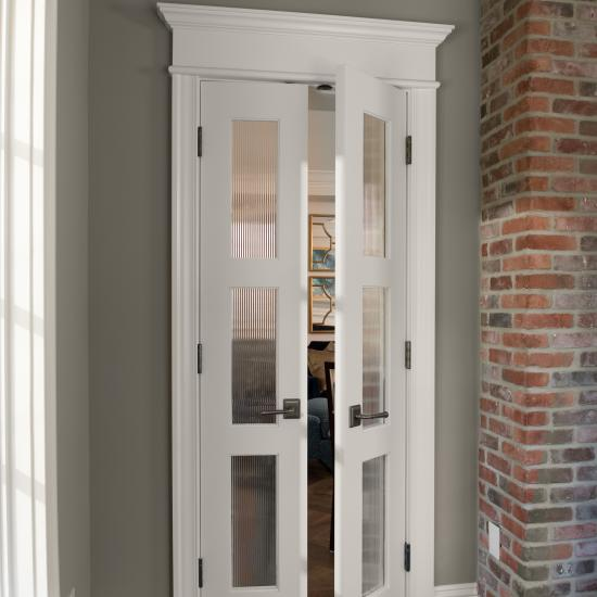 Pair of TS3000 doors in MDF with One Step (OS) sash and custom glass.