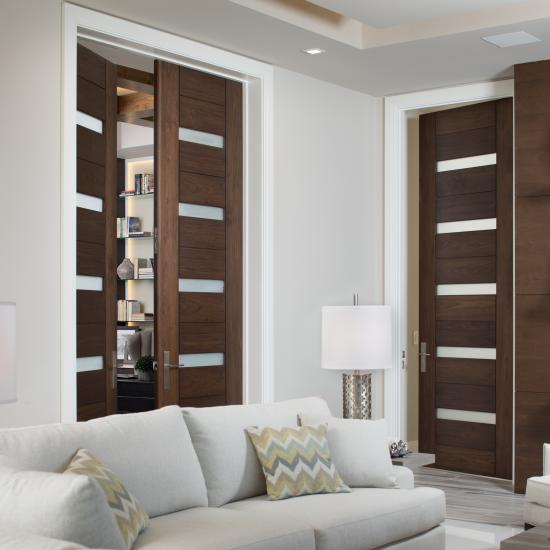 TM13340 doors in walnut with Cappuccino stain and Frosted glass inserts.