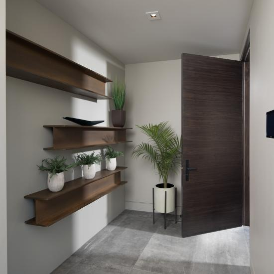TMF1000 flush door in walnut with Ebony stain.