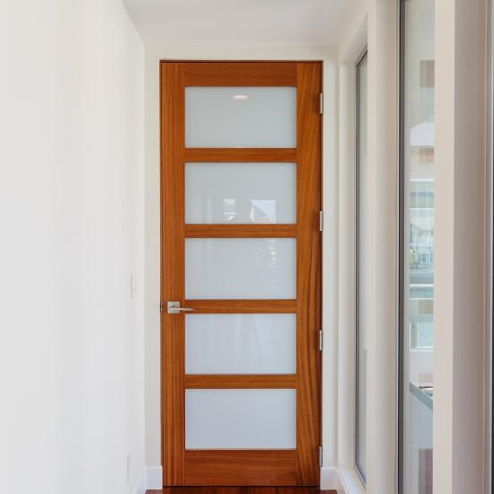TS5000 door in mahogany with Square Stick (SS) sticking and White Lami glass.