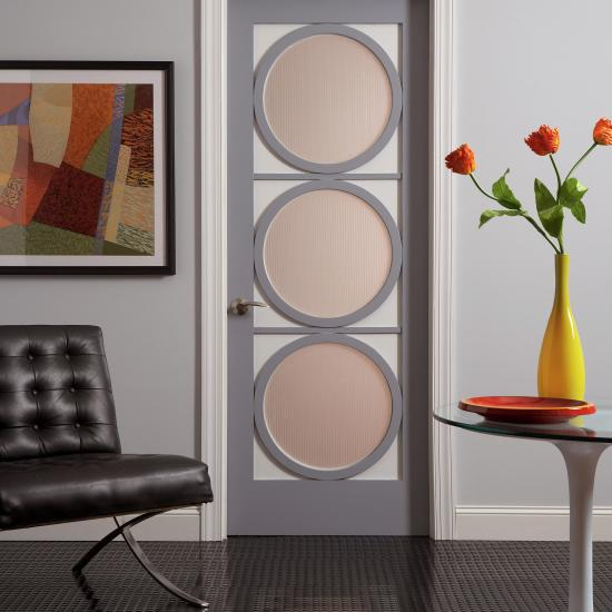 This AD3030 in two-tone painted MDF features round windows with Tuxedo glass.
