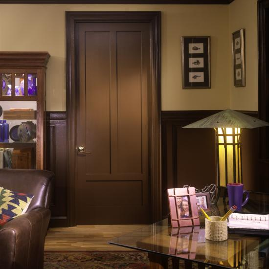 This arts & crafts room features a TS3190 painted to match the millwork of the room. MDF with square stick (SS) sticking and flat (C) panel.