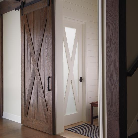 VG4010 barn door in wire-brushed white oak