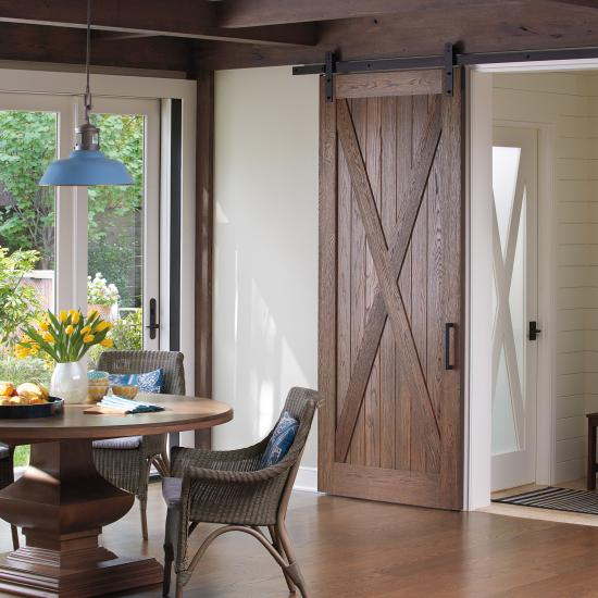 VG4010 barn door in wire-brushed white oak.