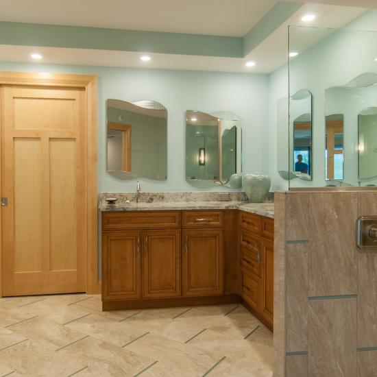 Bathroom suite features TS3240 in maple