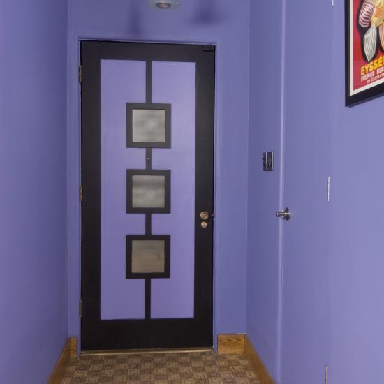 AD1030 entry door painted in vibrant two-toned colors. MDF with square stick (SS) sticking and flat panel with white lami glass.
