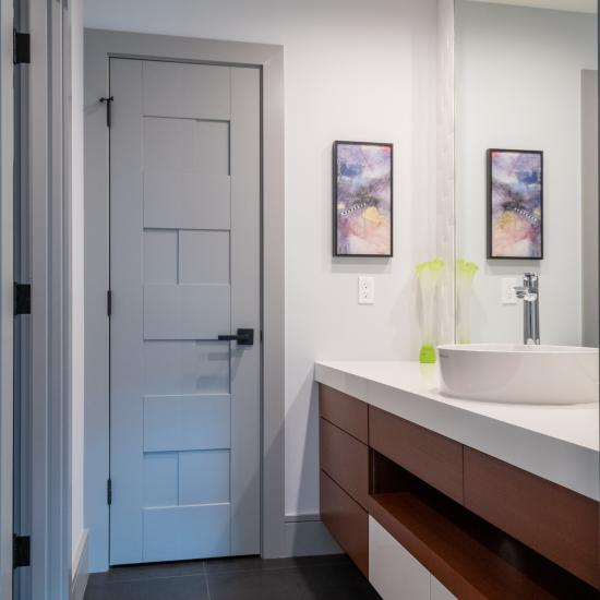 Guest bathroom featuring a TM9420 door in MDF with flat panel inserts.