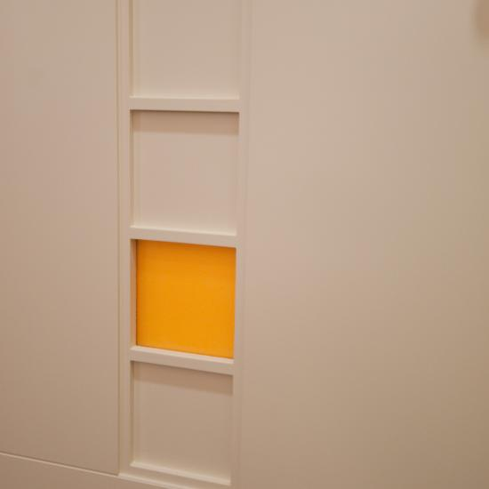 Detail of custom flush door with ladder insert and resin panel