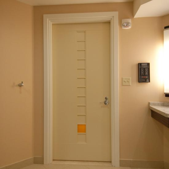 Custom flush bathroom door with ladder insert and resin panel