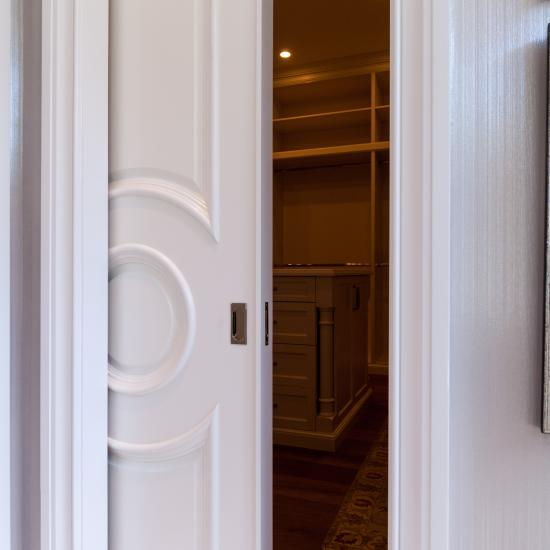 TS3140 pocket door in MDF with Big Bolection (BBM) moulding and Scoop (B) panel.