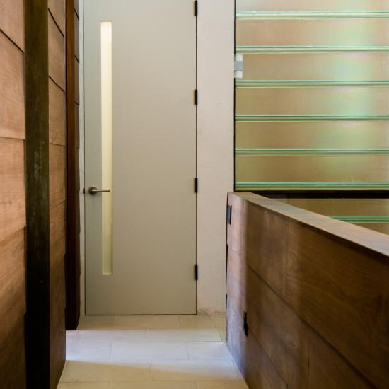 Custom 1-lite flush door in MDF with frosted glass